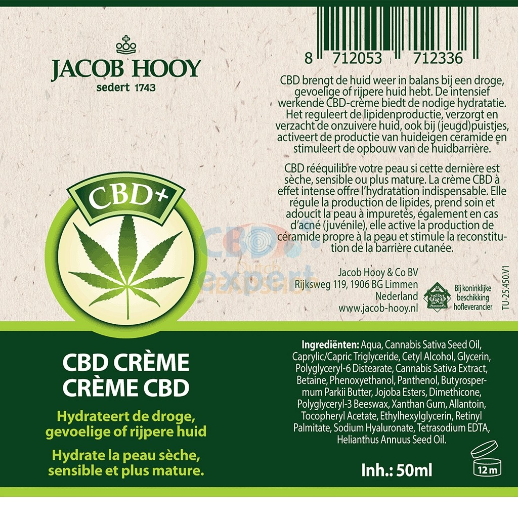 CBD creme (Jacob Hooy) 50ml