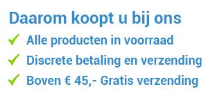 waarom koopt u bij ons - Alle producten uit voorraad leverbaar - Discrete betaling & verzending - Boven € 45,- ? Gratis verzending!